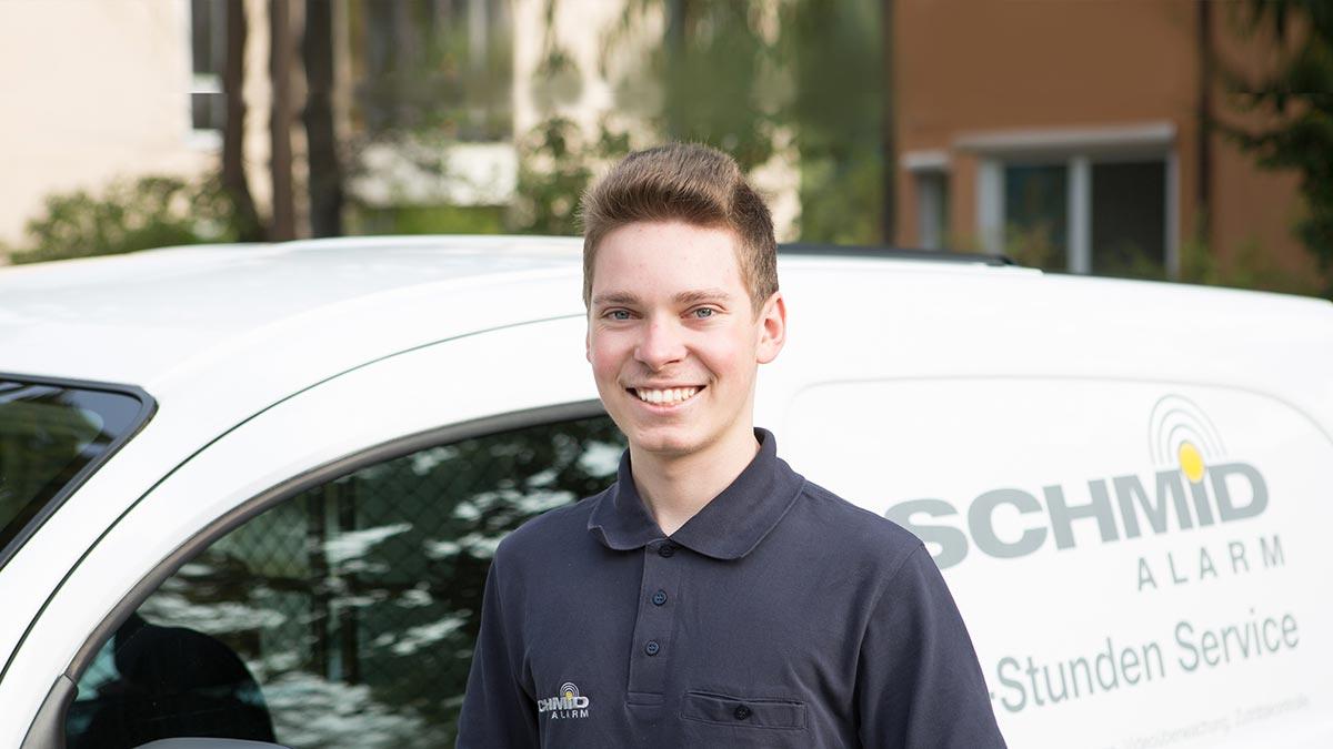 Mitarbeiter von Schmid Alarm. Kundendienst